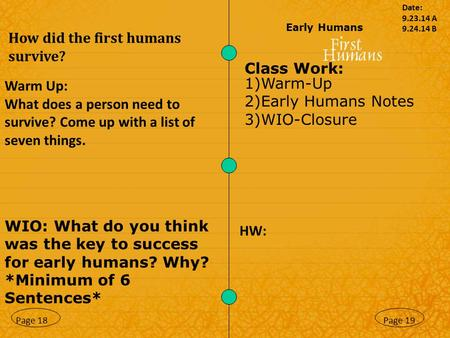 How did the first humans survive?