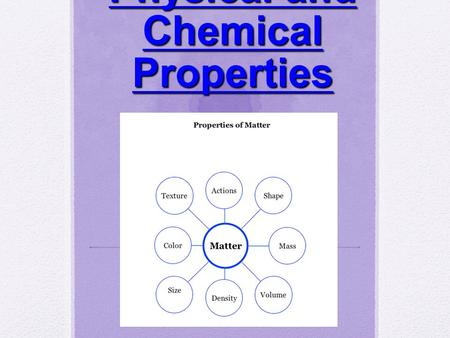 Physical and Chemical Properties. Matter Anything that has mass and takes up space!