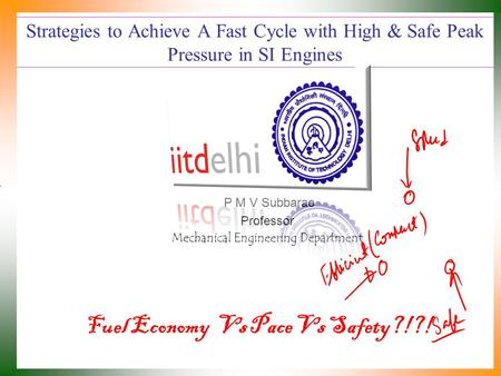 Strategies to Achieve A Fast Cycle with High & Safe Peak Pressure in SI Engines P M V Subbarao Professor Mechanical Engineering Department Fuel Economy.