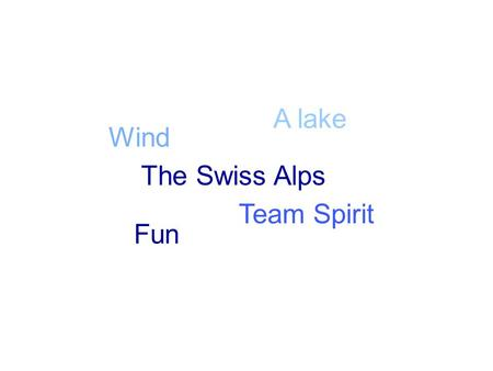 Wind Fun Team Spirit A lake The Swiss Alps Welcome to Eurosail 2015 Press a button to continue.