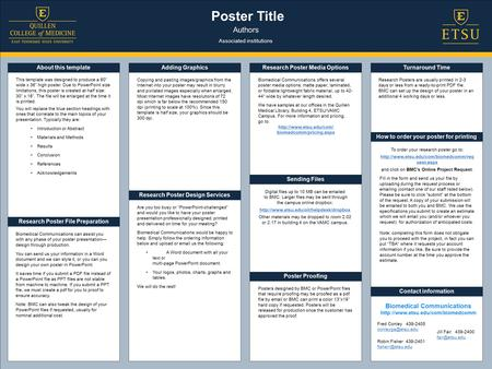 Poster Title Authors Associated institutions About this template Research Poster File Preparation Research Poster Design Services How to order your poster.