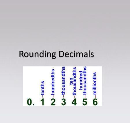 Rounding Decimals. Use place value understanding to round decimals to any place. Use place value understanding to round decimals to any place. 5.NBT.4.