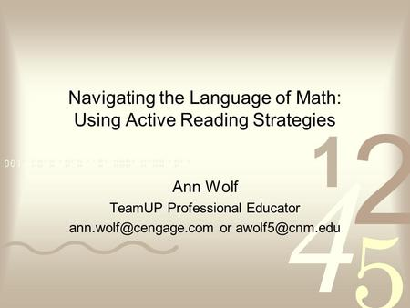 Navigating the Language of Math: Using Active Reading Strategies