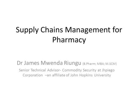 Supply Chains Management for Pharmacy