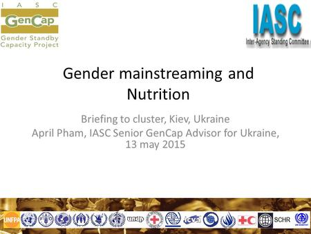 Gender mainstreaming and Nutrition Briefing to cluster, Kiev, Ukraine April Pham, IASC Senior GenCap Advisor for Ukraine, 13 may 2015.