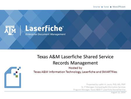 Texas A&M Laserfiche Shared Service Records Management