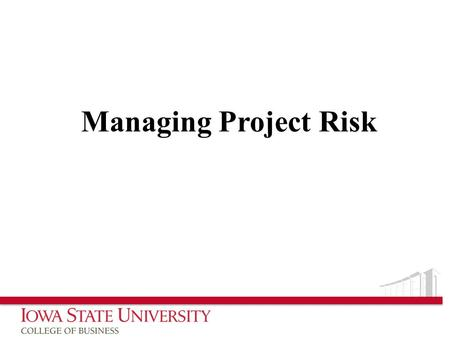 Managing Project Risk.