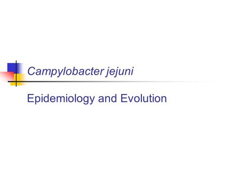 Campylobacter jejuni Epidemiology and Evolution. Veterinary Training Research Initiative Food-borne zoonotic pathogens: Transmission, pathogen evolution.