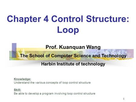 Chapter 4 Control Structure: Loop Knowledge: Understand the various concepts of loop control structure Skill: Be able to develop a program involving loop.
