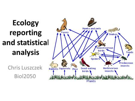 Ecology reporting and statistical analysis