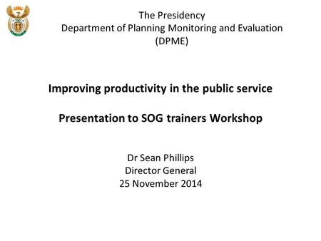 Improving productivity in the public service
