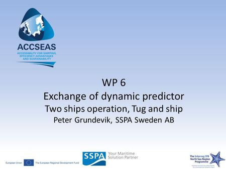WP 6 Exchange of dynamic predictor Two ships operation, Tug and ship Peter Grundevik, SSPA Sweden AB.