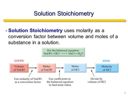 1 Solution Stoichiometry Solution Stoichiometry uses molarity as a conversion factor between volume and moles of a substance in a solution.