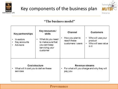 Provenance Key components of the business plan Customers Who will use your product Who will see value in it Channel How you plan to reach these customers.