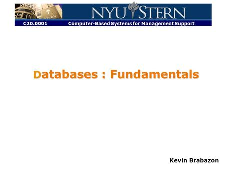 C20.0001 Computer-Based Systems for Management Support Kevin Brabazon D atabases : Fundamentals.