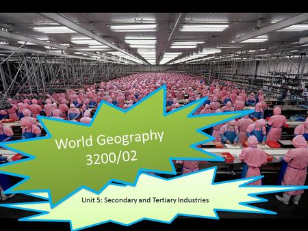 Unit 5: Secondary and Tertiary Industries World Geography 3200/02.