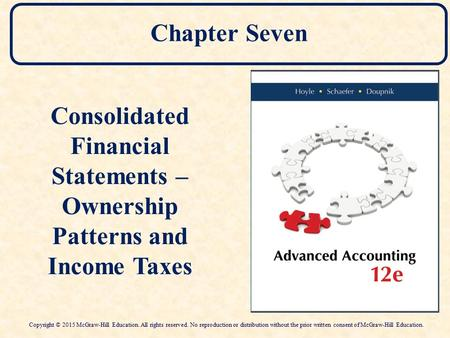 Chapter Seven Consolidated Financial Statements – Ownership Patterns and Income Taxes Consolidated Financial Statements – Ownership Patterns and Income.