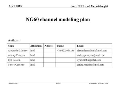 NG60 channel modeling plan