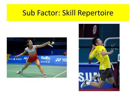 Sub Factor: Skill Repertoire. Watch the badminton footage below. Write down a list of the shots that you observe in the rallies. https://www.youtube.com/watch?v=wQ5zTH69dv0.