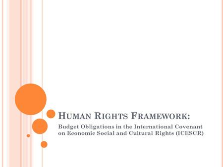 H UMAN R IGHTS F RAMEWORK : Budget Obligations in the International Covenant on Economic Social and Cultural Rights (ICESCR)