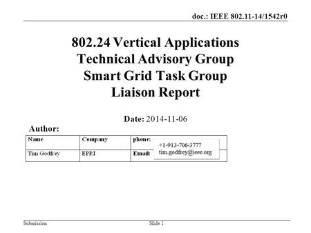 Doc.: IEEE 802.11-14/1542r0 Submission 802.24 Vertical Applications Technical Advisory Group Smart Grid Task Group Liaison Report Date: 2014-11-06 Slide.