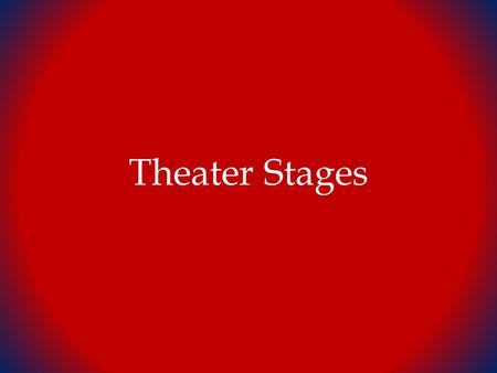 Theater Stages. Different types of Staging Proscenium Arch Stage within an enclosing arch STAGE Wings Apron Audience.