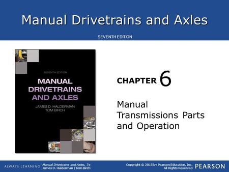 6 Manual Transmissions Parts and Operation.