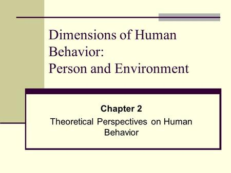 Dimensions of Human Behavior: Person and Environment Chapter 2 Theoretical Perspectives on Human Behavior.
