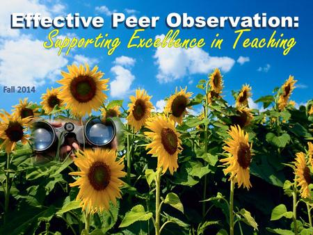 Effective Peer Observation:. Following this session, participants should be able to: identify characteristics of effective teaching in various settings.