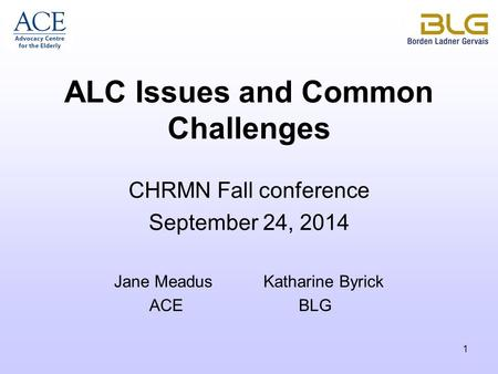 1 ALC Issues and Common Challenges CHRMN Fall conference September 24, 2014 Jane Meadus Katharine Byrick ACEBLG.