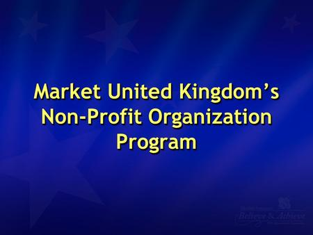 Market United Kingdom's Non-Profit Organization Program.
