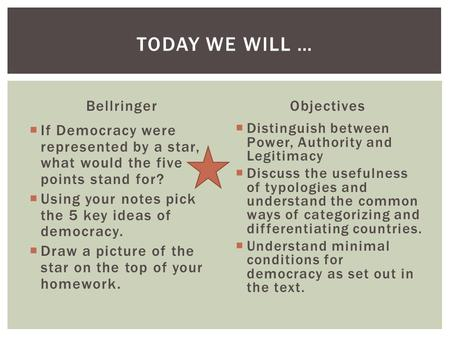 Today we will … Bellringer Objectives