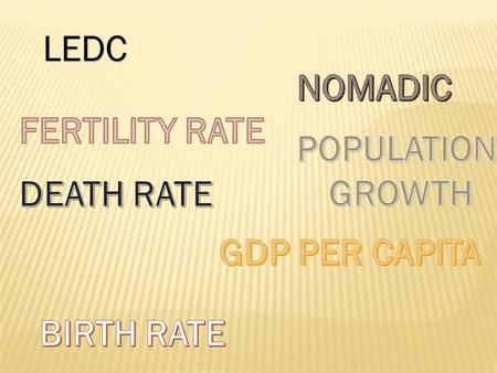 LEDC NOMADIC FERTILITY RATE POPULATION GROWTH DEATH RATE