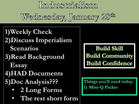 Industrialism Wednesday, January 28th Weekly Check