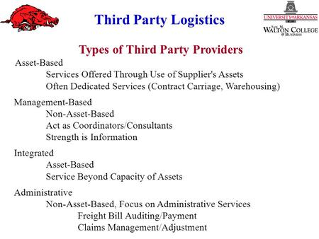 Third Party Logistics Types of Third Party Providers Asset ‑ Based Services Offered Through Use of Supplier's Assets Often Dedicated Services (Contract.