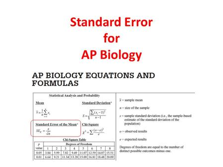 Standard Error for AP Biology. Statistics are helpful to better understand the meaning of a sample data set What do these numbers actually MEAN?