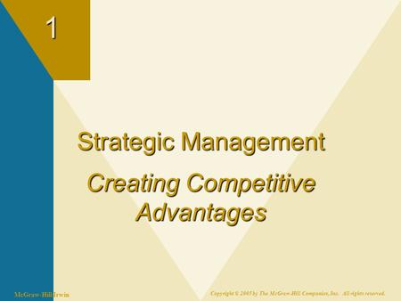 McGraw-Hill/Irwin Copyright © 2005 by The McGraw-Hill Companies, Inc. All rights reserved.1 Strategic Management Creating Competitive Advantages.