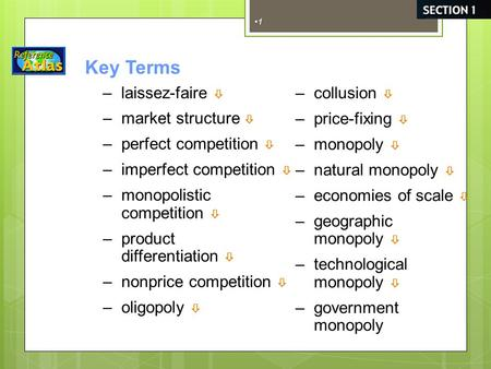 1 Key Terms –market structure  –perfect competition  –imperfect competition  –monopolistic competition  –product differentiation  –nonprice competition.