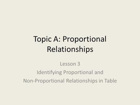 Topic A: Proportional Relationships