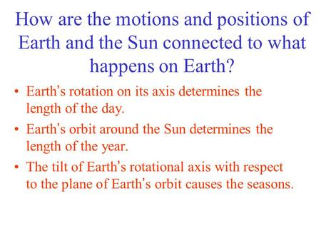 Earth's rotation on its axis determines the length of the day.