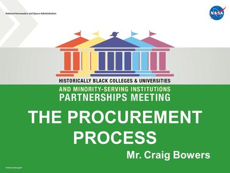 THE PROCUREMENT PROCESS Mr. Craig Bowers. Why Contract with NASA? International leader: – Space Exploration – Earth and Space Science – Aeronautics –