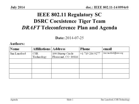 Doc.: IEEE 802.11-14/0994r0 Agenda July 2014 Jim Lansford, CSR TechnologySlide 1 IEEE 802.11 Regulatory SC DSRC Coexistence Tiger Team DRAFT Teleconference.