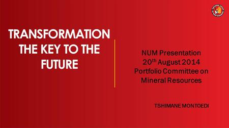 1 TRANSFORMATION THE KEY TO THE FUTURE NUM Presentation 20 th August 2014 Portfolio Committee on Mineral Resources TSHIMANE MONTOEDI.