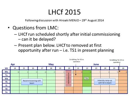 LHCf 2015 Questions from LMC: – LHCf run scheduled shortly after initial commissioning – can it be delayed? – Present plan below. LHCf to removed at first.