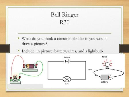 Bell Ringer R30 What do you think a circuit looks like if you would draw a picture? Include in picture: battery, wires, and a lightbulb.