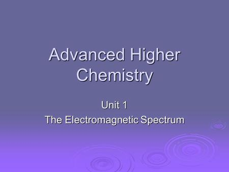 Advanced higher chemistry homework