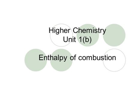 Higher Chemistry Unit 1(b) Enthalpy of combustion.