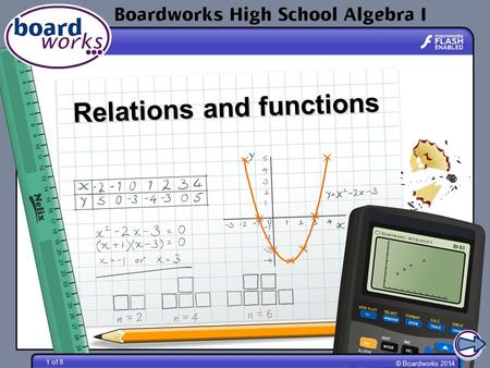 © Boardworks 2014 1 of 8 Relations and functions.