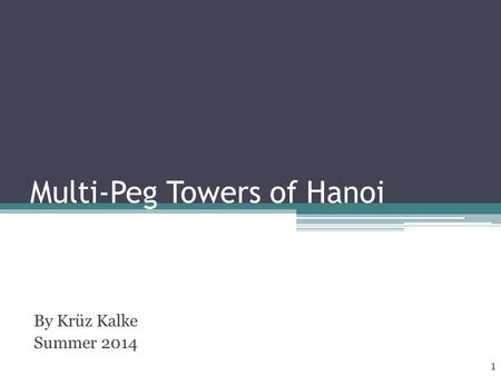 Multi-Peg Towers of Hanoi By Krüz Kalke Summer 2014 1.