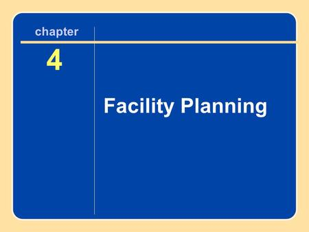 Author name here for Edited books chapter 4 Facility Planning 4 chapter.